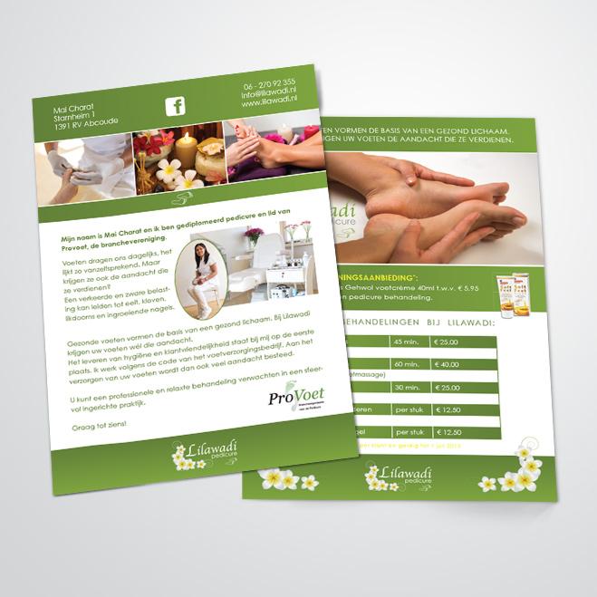 flyers gemaakt door Kat Design voor pedicure Lilawadi