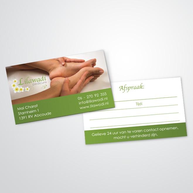 visitekaartjes gemaakt door Kat Design voor pedicure Lilawadi