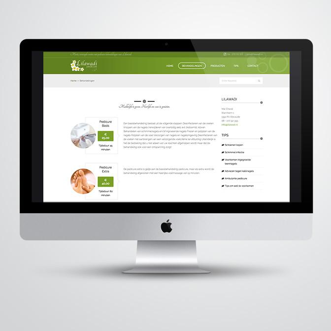 website gemaakt door Kat Design voor pedicure Lilawadi