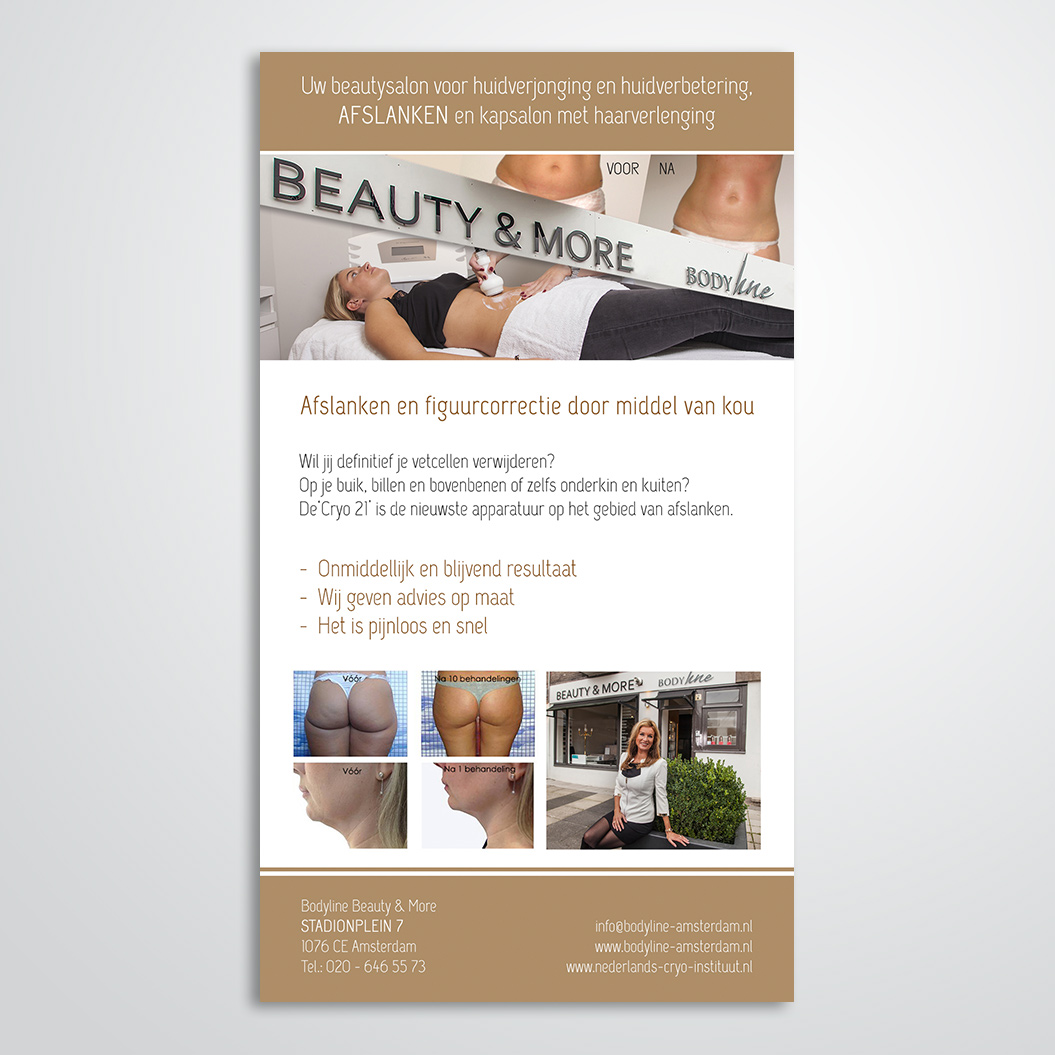 advertentie gemaakt door Kat Design voor Beautysalon Bodyline Beauty & More