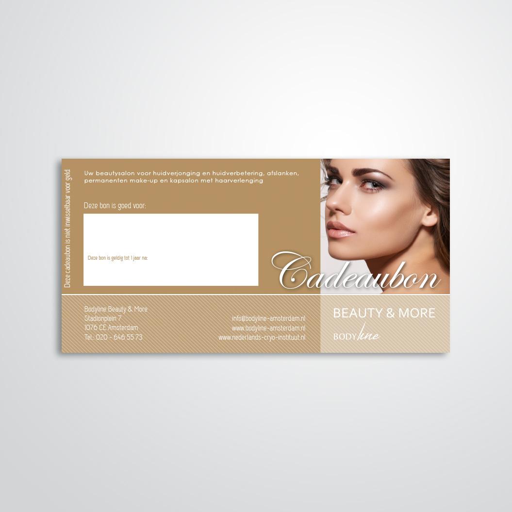 cadeaubon gemaakt door Kat Design voor Beautysalon Bodyline Beauty & More