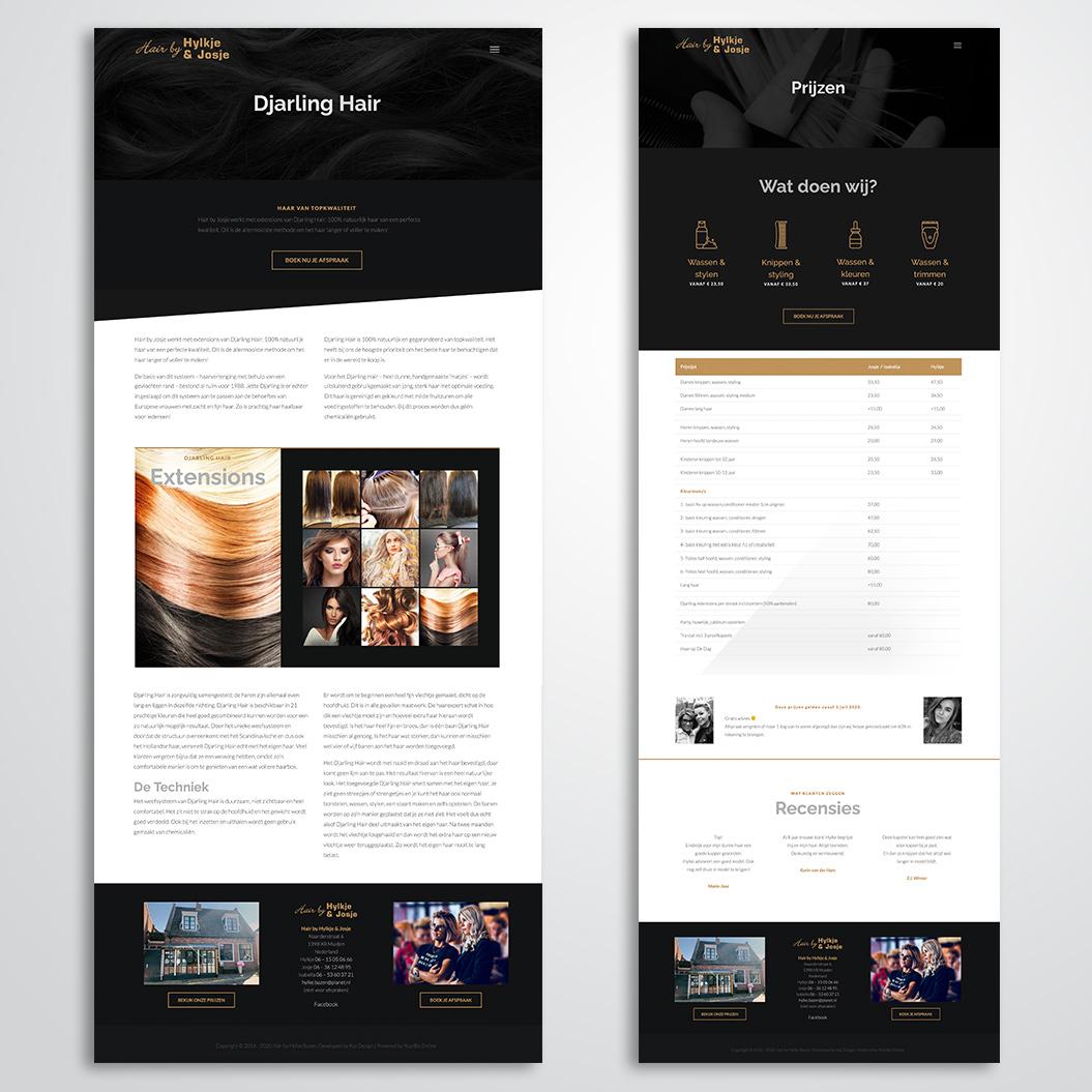 Website gemaakt door Kat Design voor kapster Hair by Hylke en Josje