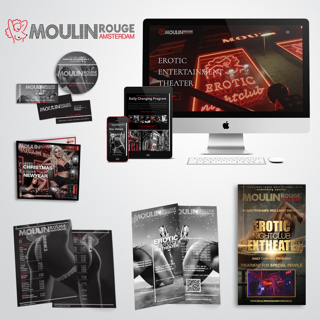 huisstijl gemaakt door Kat Design voor Moulin Rouge Amsterdam