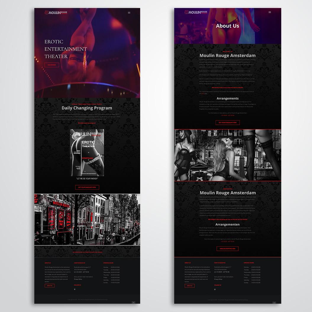 website gemaakt door Kat Design voor Moulin Rouge Amsterdam