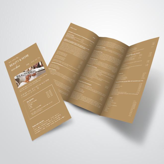 3-luik folder gemaakt door Kat Design voor Beautysalon Bodyline Beauty & More
