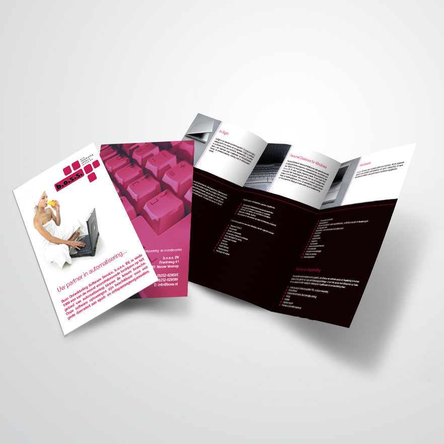 3luik-folder gemaakt door Kat Design voor B.O.S.S.