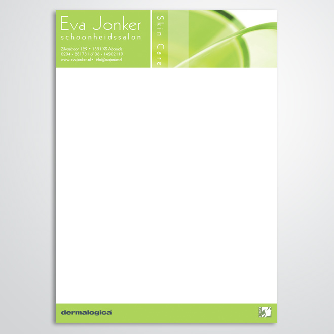 briefpapier voor schoonheidsspecialist Eva Jonker
