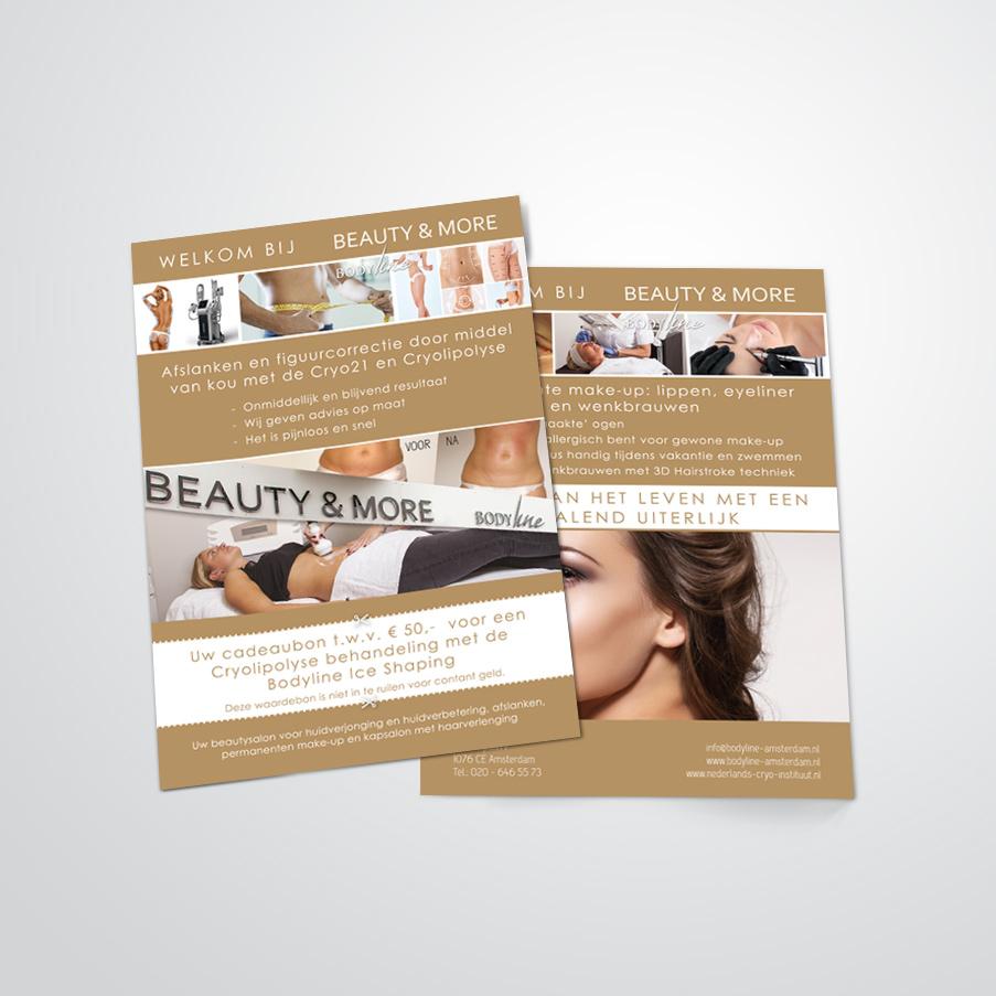 flyer gemaakt door Kat Design voor Beautysalon Bodyline Beauty & More