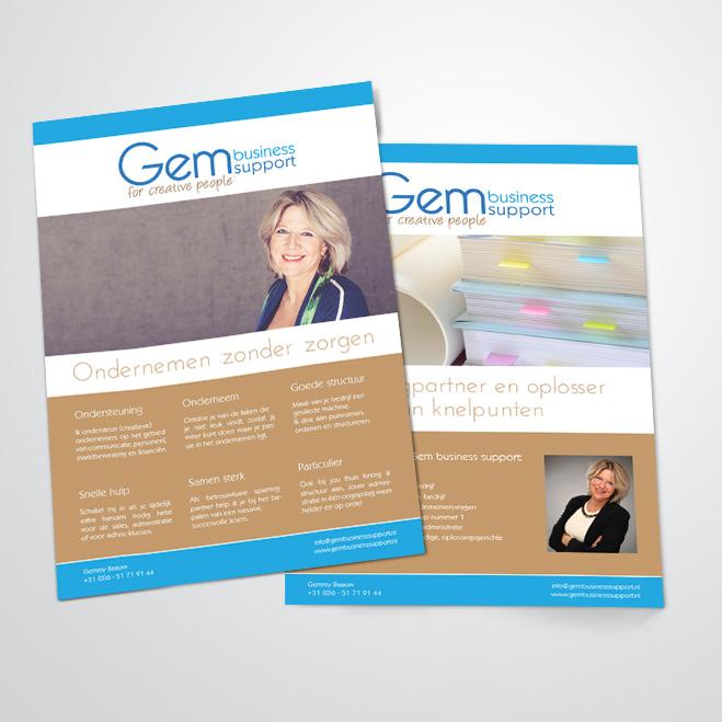flyer gemaakt door Kat Design voor Gem business support