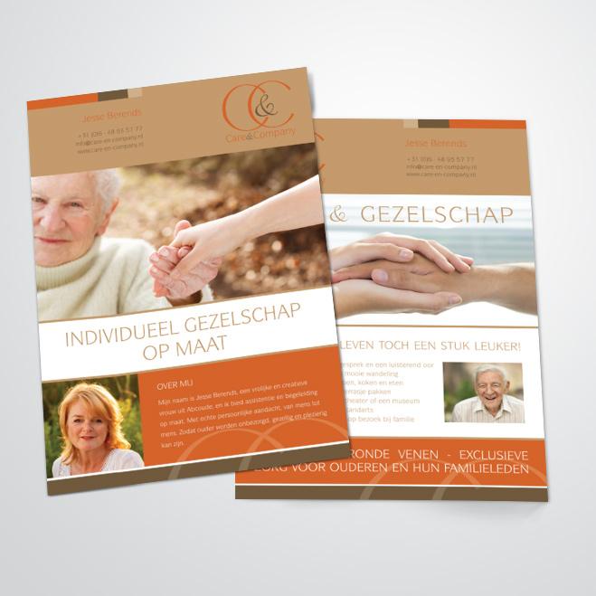 flyers gemaakt door Kat Design voor Care & Company
