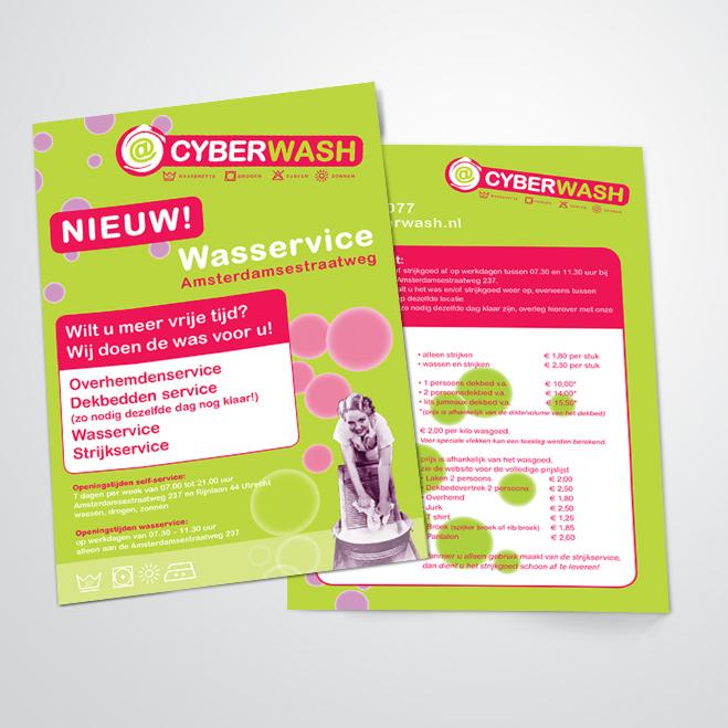flyer gemaakt door Kat Design voor Cyberwash