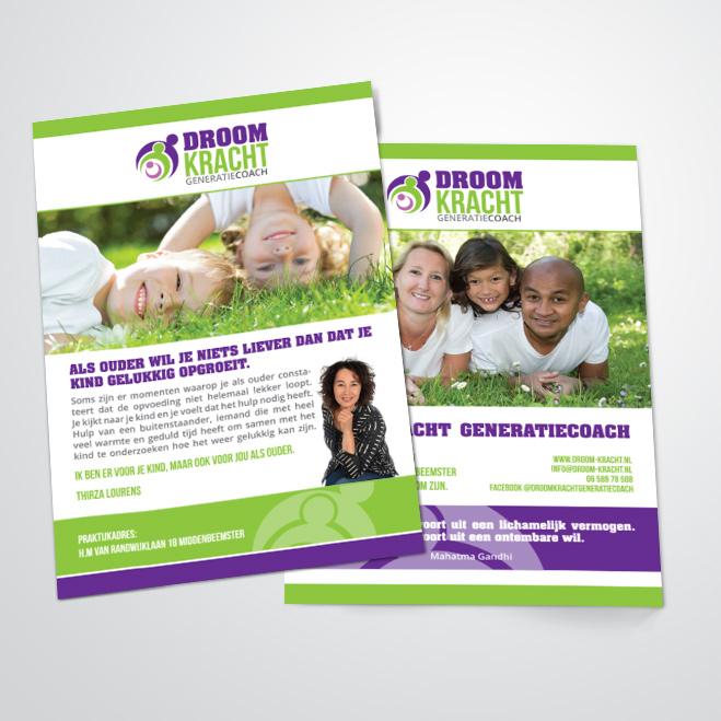 flyers gemaakt door Kat Design voor droomkracht