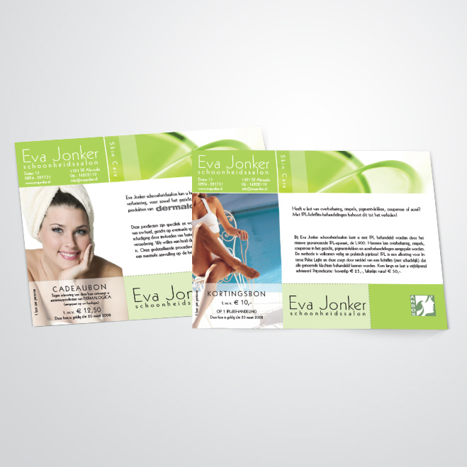 flyers voor schoonheidsspecialist Eva Jonker