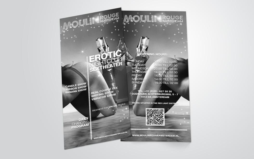 flyers gemaakt door Kat Design voor Moulin Rouge Amsterdam