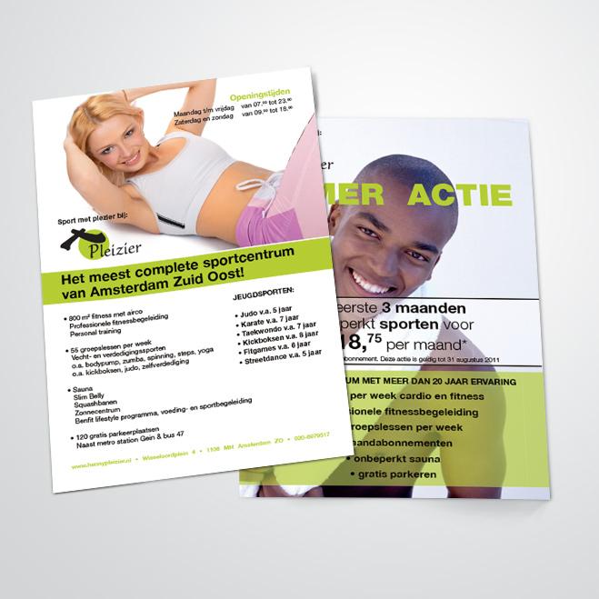 flyer gemaakt door Kat Design voor sportschool Pleizier