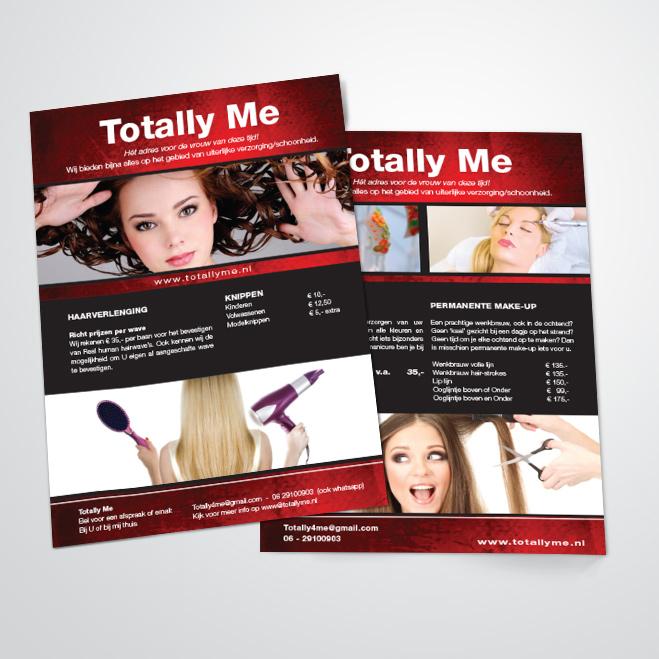 Flyer voor schoonheidsspecialist Totally Me