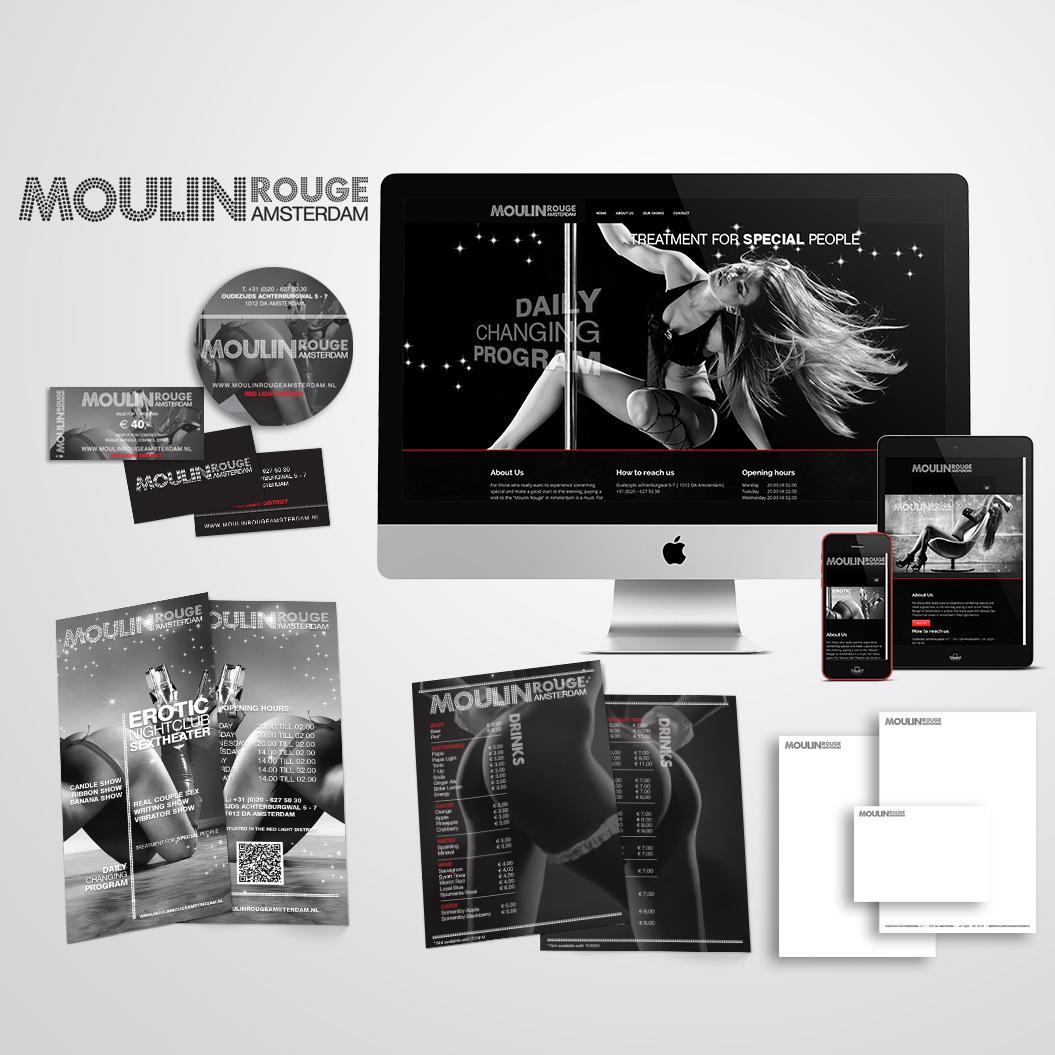 Nieuwe huisstijl gemaakt door Kat Design voor Moulin Rouge Amsterdam