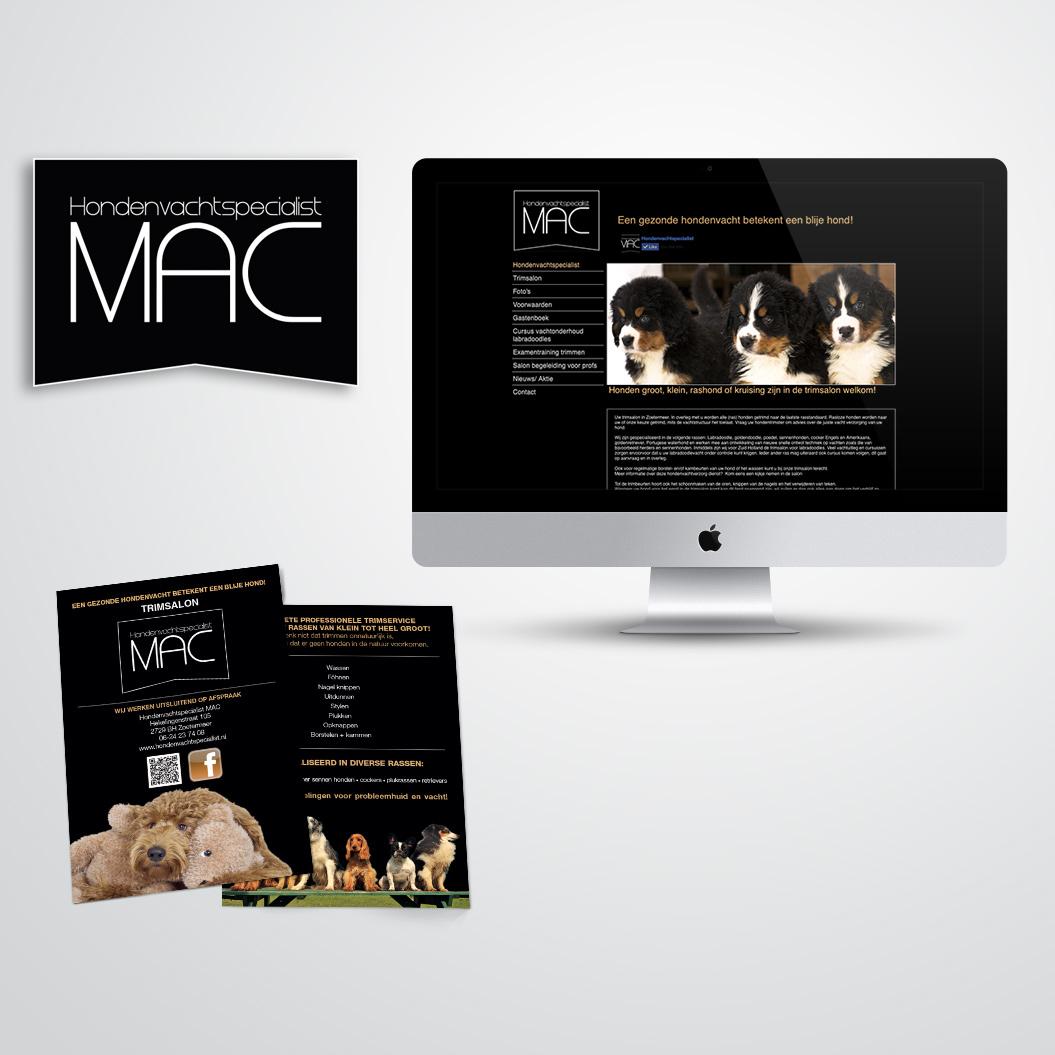 Huisstijl voor MAC hondenvachtspecialist, inclusief logo, flyers en website