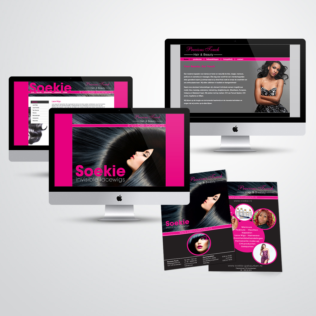 Websites en flyer gemaakt door Kat Design voor Precious Touch