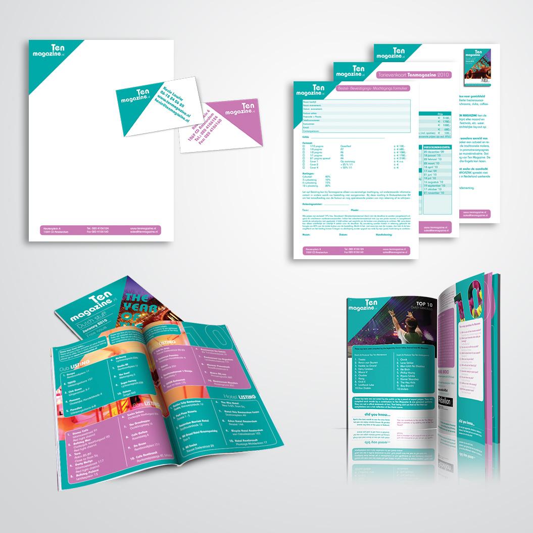 huisstijl gemaakt door Kat Design voor Ten Magazine
