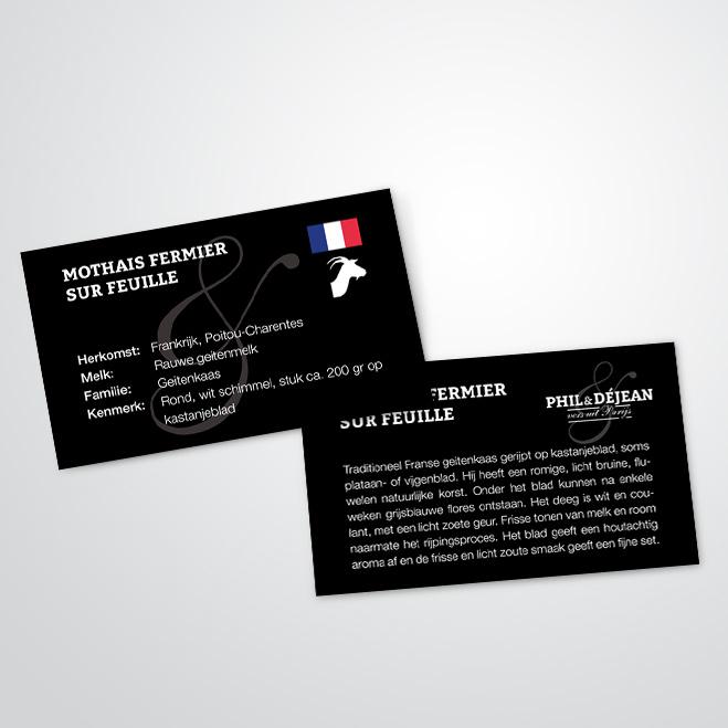 kaaskaartjes voor Phil & Déjean gemaakt door Kat Design