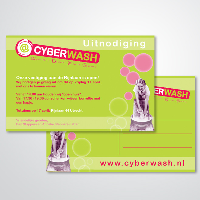 uitnodiging gemaakt door Kat Design voor Cyberwash