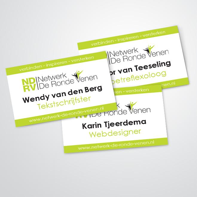 visitekaartjes gemaakt door Kat Design voor netwerk de ronde venen