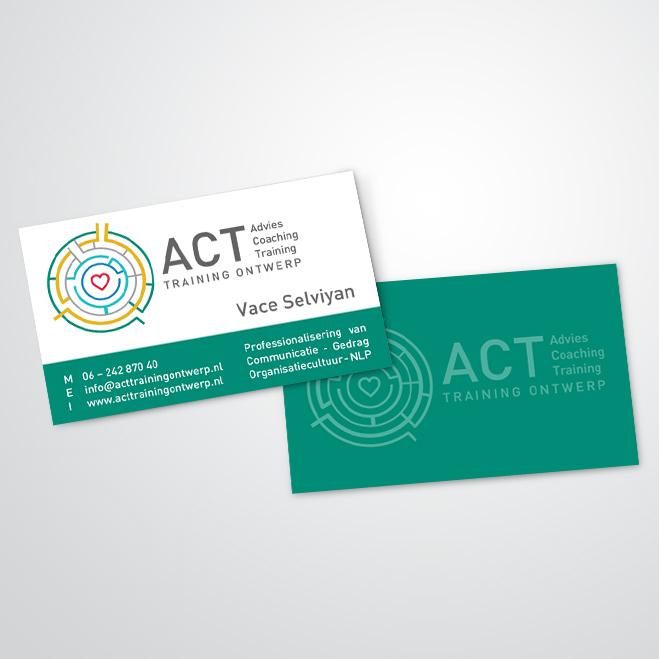visitekaartjes gemaakt door Kat Design voor ACT Trainingontwerp