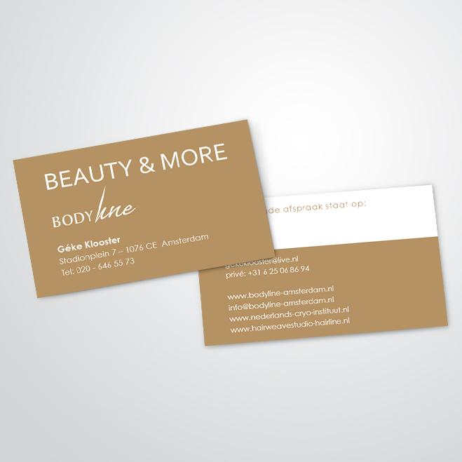 visitekaartjes gemaakt door Kat Design voor Beautysalon Bodyline Beauty & More