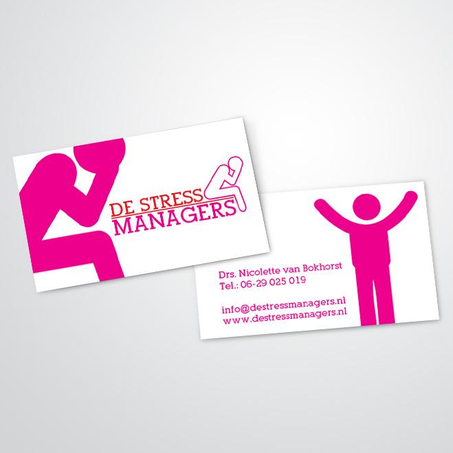 visitekaartjes voor 'De-stressmanagers' van coach Nicolette van Bokhorst
