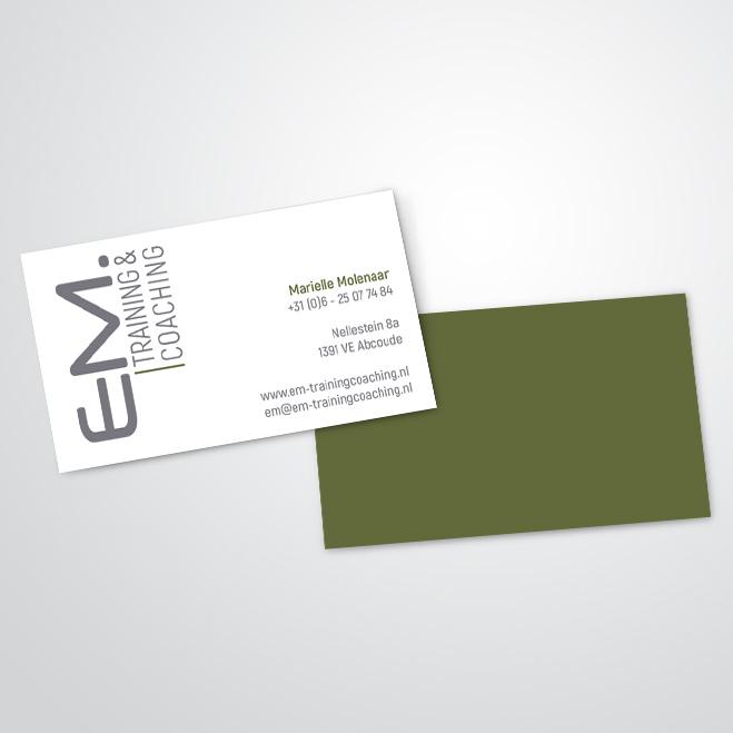 visitekaartjes gemaakt voor EM Training & Coaching