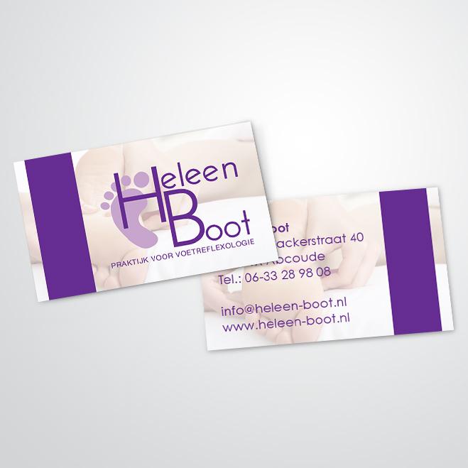 visitekaartjes gemaakt voor Kat Design voor pedicure Heleen Boot