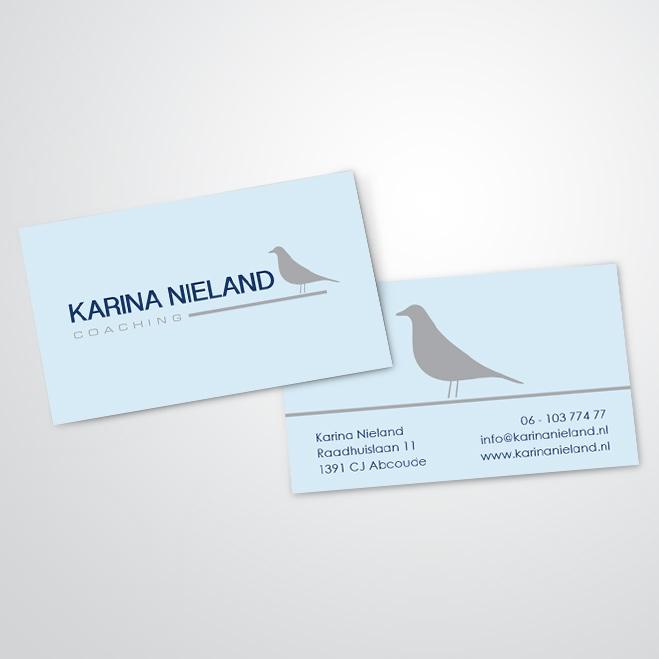 visitekaartjes gemaakt door Kat Design voor coach Karina Nieland