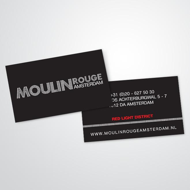 visitekaartjes gemaakt door Kat Design voor Moulin Rouge Amsterdam