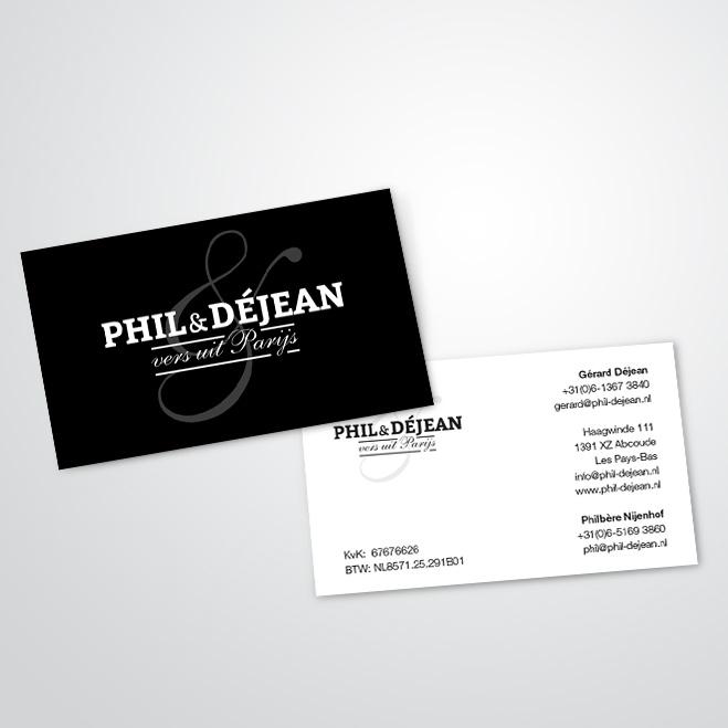 visitekaartjes voor Phil & Déjean gemaakt door Kat Design
