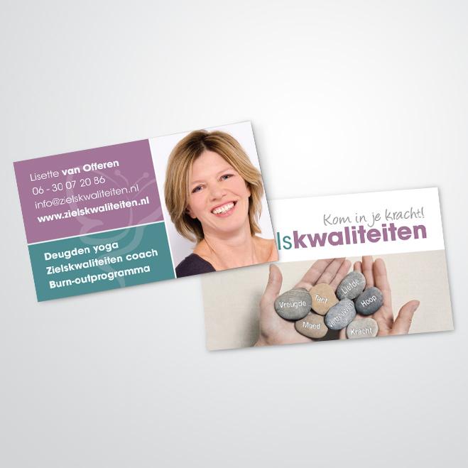 visitekaartjes door Kat Design voor Lisette van Zielskwaliteiten