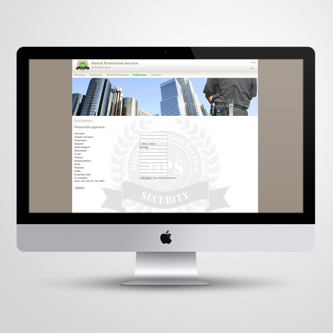website voor Dutch Protection Service