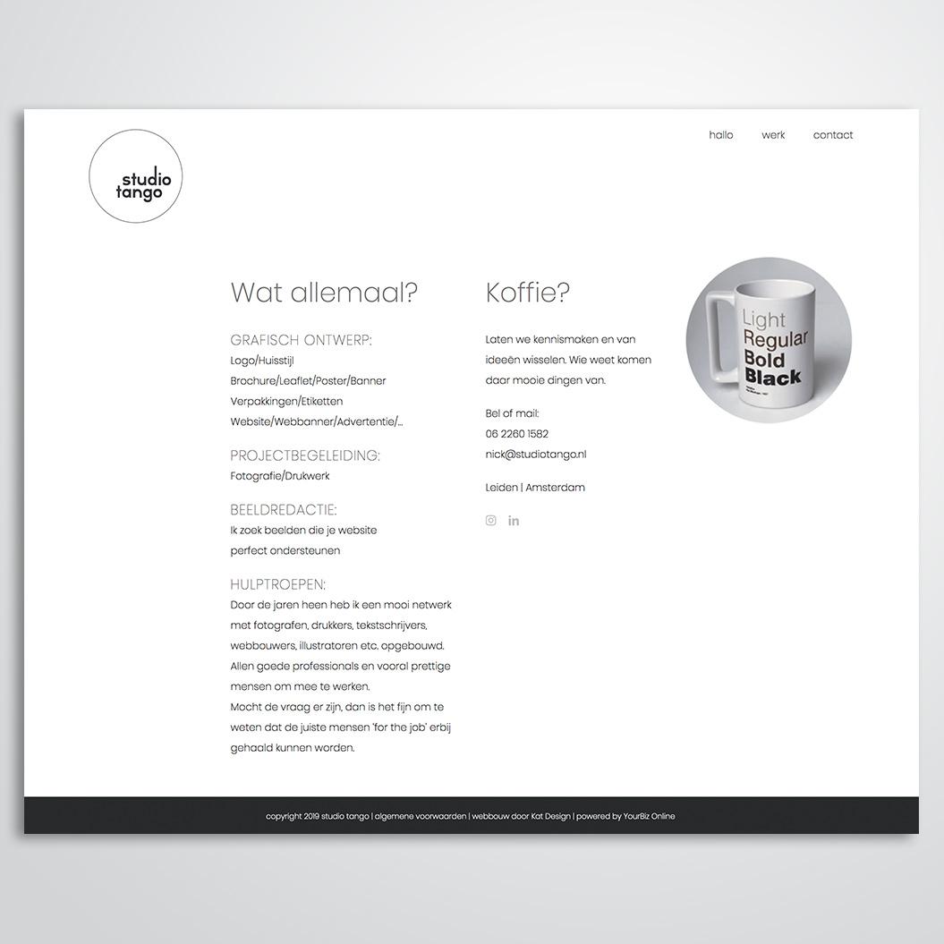 website gemaakt door Kat Design voor Studio Tango