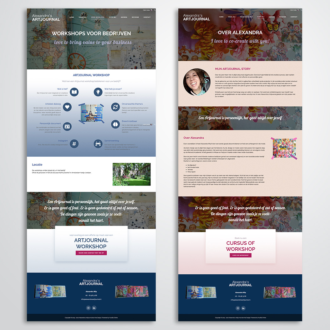 website gemaakt door Kat Design voor Alexandra's Artjournal