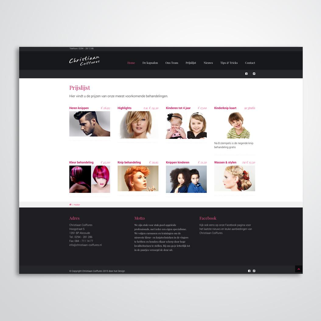 Website gemaakt door Kat Design voor kapster Christiaan Coiffures