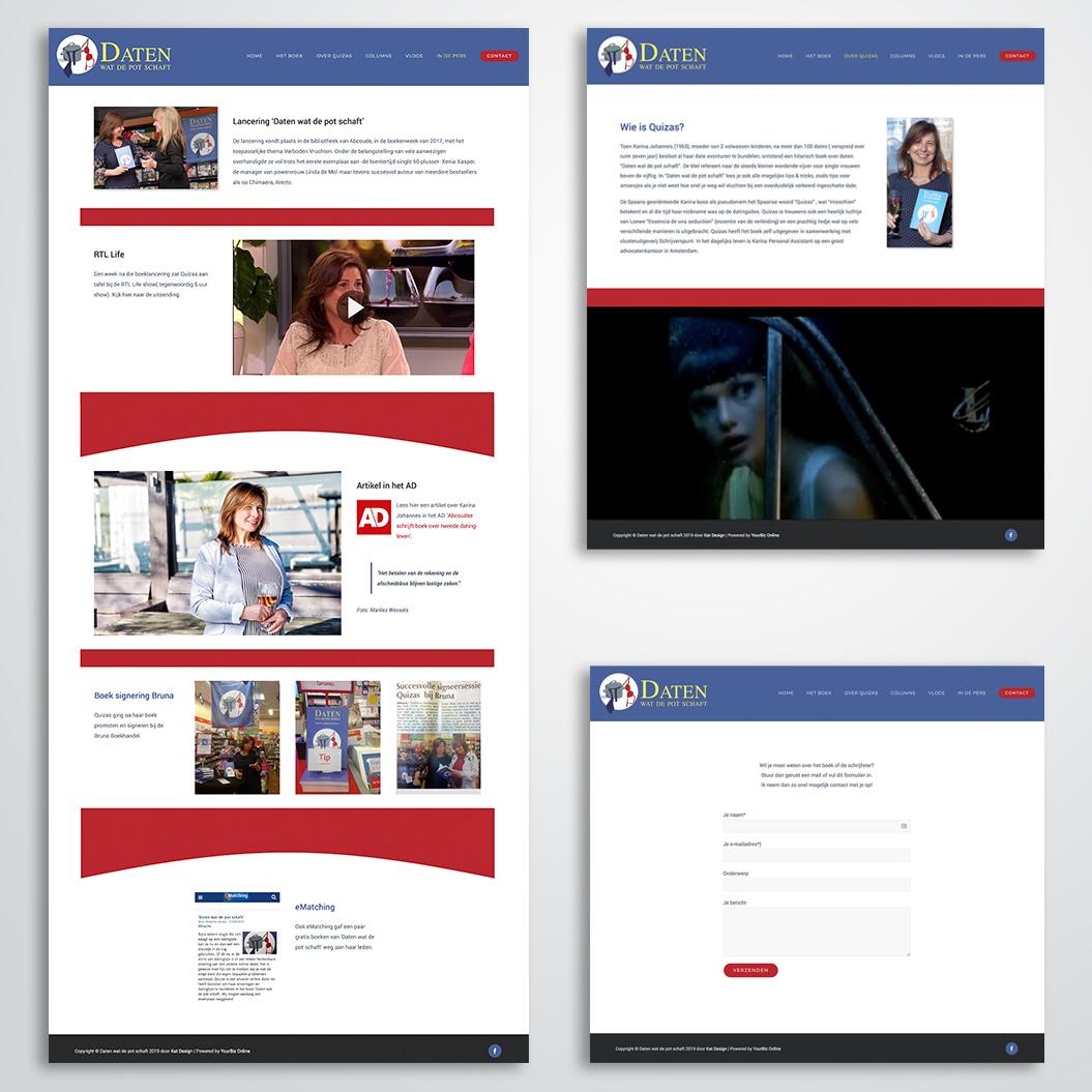 website gemaakt door Kat Design voor het boek Daten wat de pot schaft
