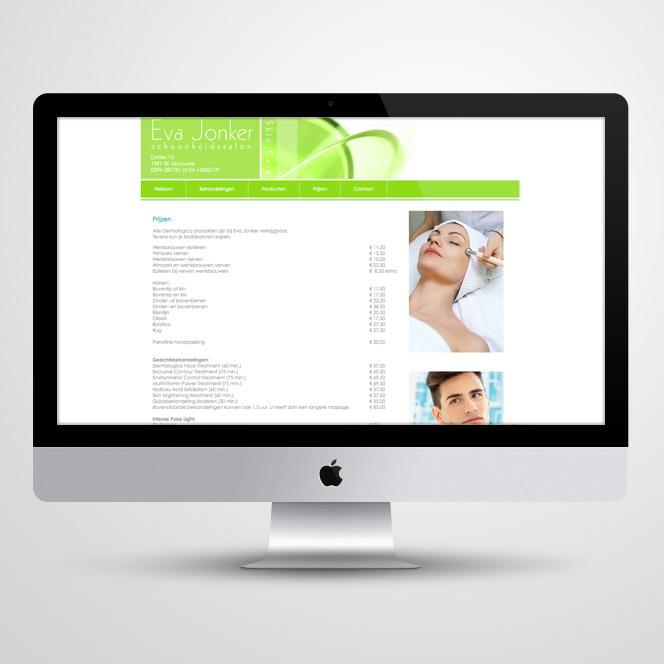 website voor schoonheidsspecialist Eva Jonker