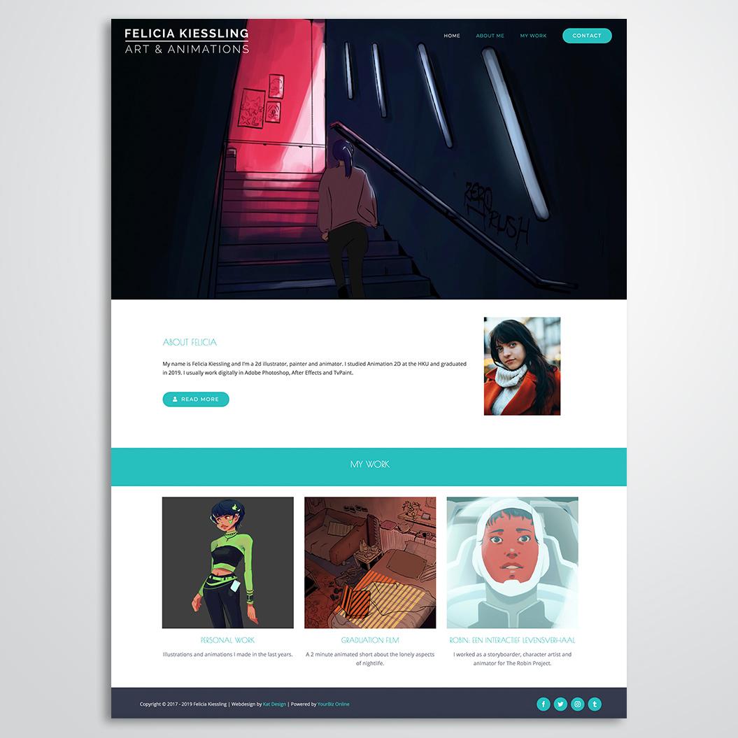 website gemaakt door Kat Design voor Felicia Kieslling
