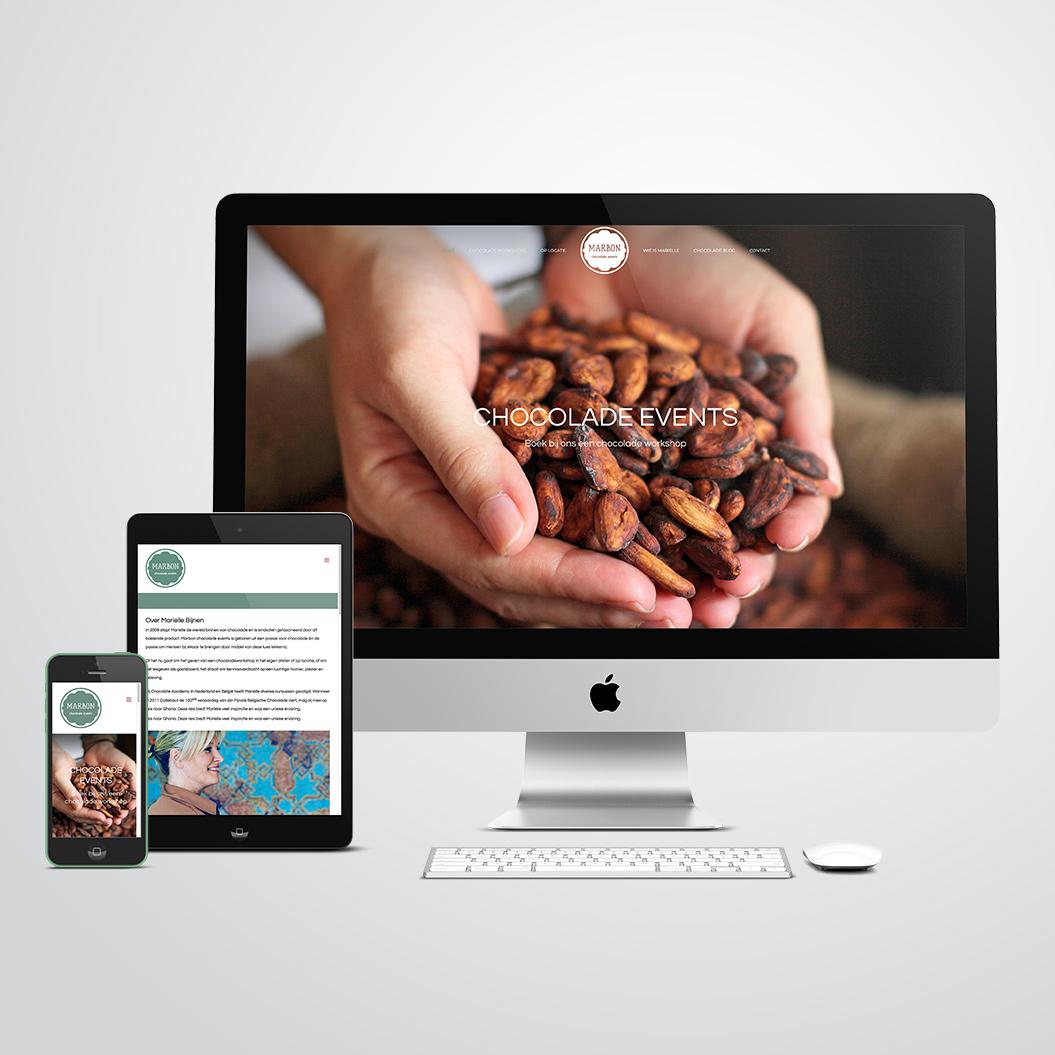 website gemaakt door Kat Design voor Marbon Chocolade Events