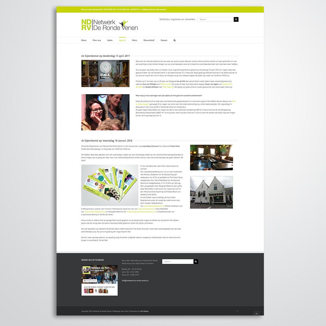 website gemaakt door Kat Design voor netwerk de ronde venen