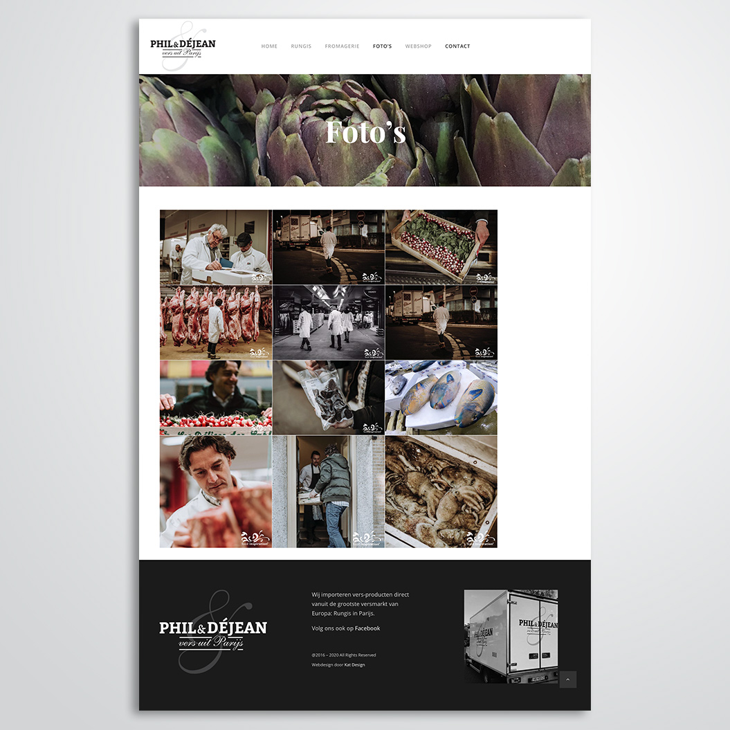 website voor Phil & Déjean gemaakt door Kat Design