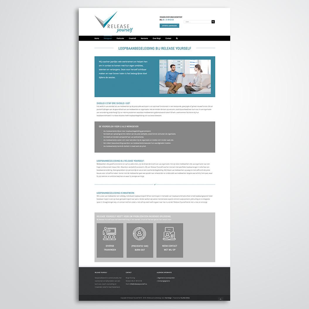 website gemaakt door Kat Design voor Release Yourself