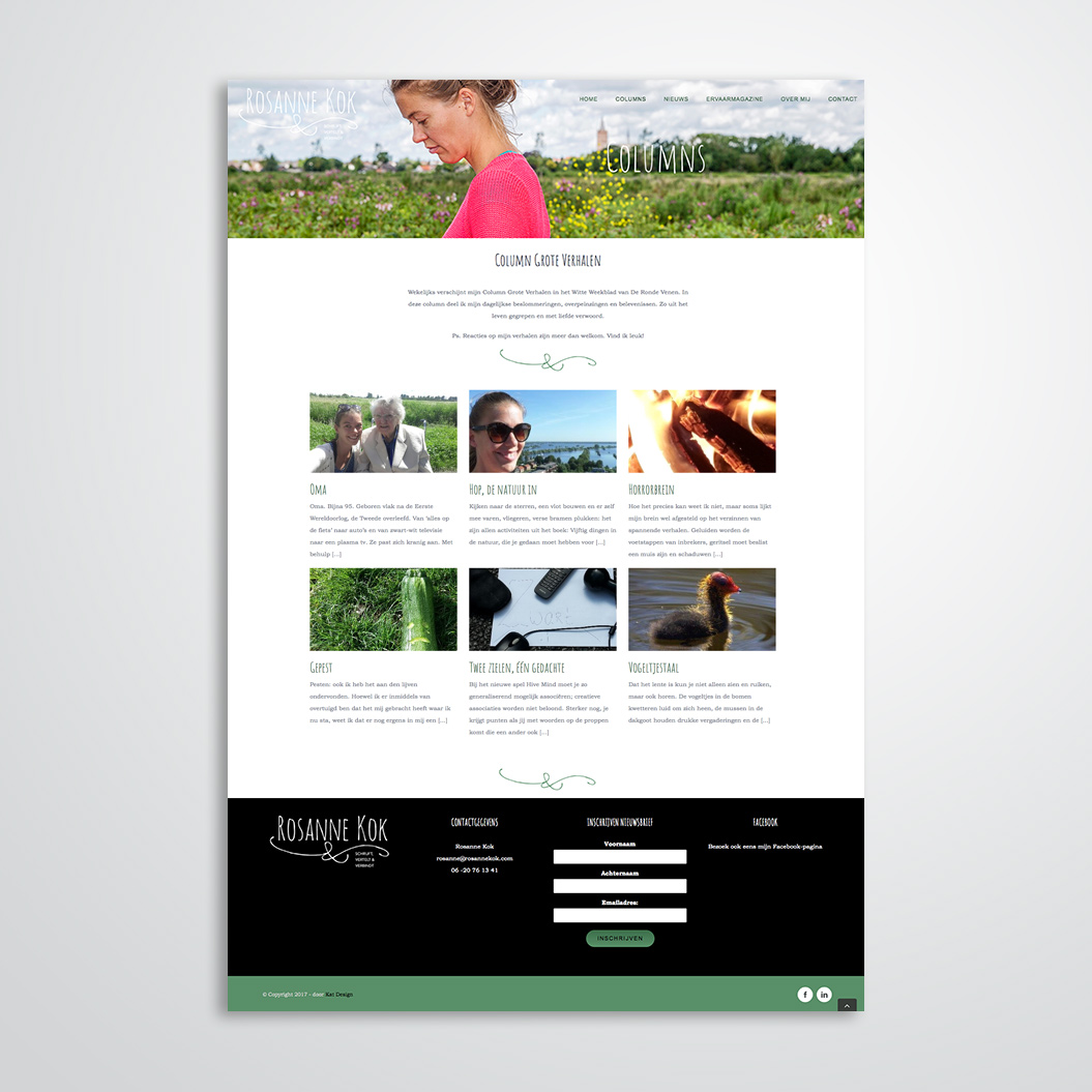 website gemaakt door Kat Design voor Rosanne Kok