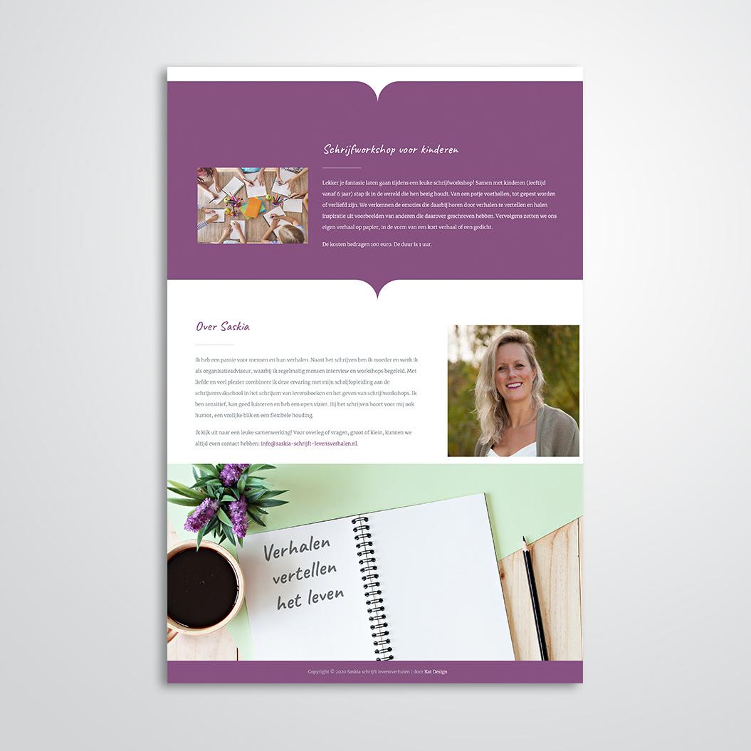 website voor Saskia schrijft levensverhalen gemaakt door Kat Design