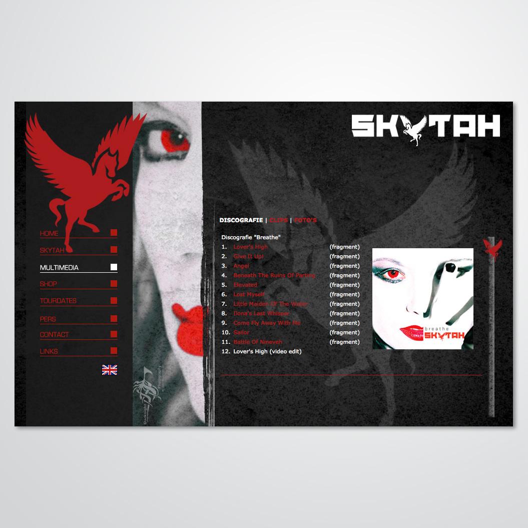 Website gemaakt door Kat Design voor de band Skytah